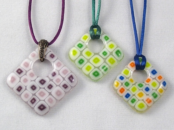 Offset Square Pendants with Millefiori