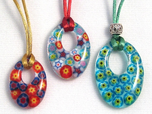 Oval Pendants with Millefiori